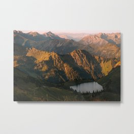 Golden Sunrise and a mountain lake in the Alps – Landscape Photography Metal Print