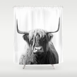 Highland cow | Black and White Photo Shower Curtain