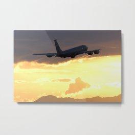 USAF KC-135 sunset departure Metal Print