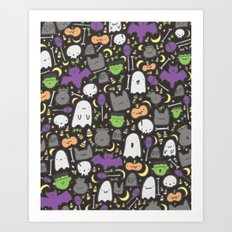 Kawaii Halloween - Black Art Print