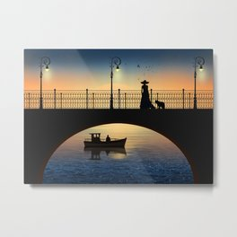 Romantic meeting by the river in the sunset Metal Print