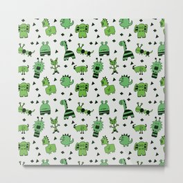 Green Little Monsters Metal Print