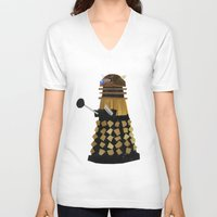 dalek V-neck T-shirts featuring Dalek (Collage) by Ben Morgan
