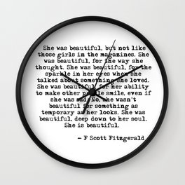She was beautiful - Fitzgerald quote Wall Clock