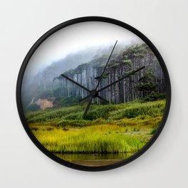 Inland - Fog Moves Into Forest Along Washington Coast Wall Clock