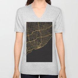 TORONTO CANADA GOLD ON BLACK CITY MAP Unisex V-Neck