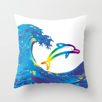 hokusai Throw Pillows featuring Hokusai Rainbow & dolphin_C by FACTORIE