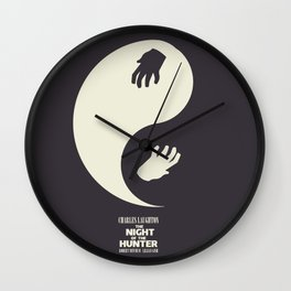 The Night of the Hunter - Minimal Poster (Robert Mitchum, Charles Laughton) classic Hollywood mo Wall Clock