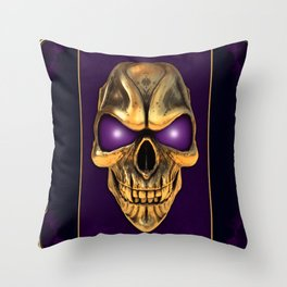 Skull with glowing purple eyes Throw Pillow