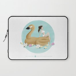 Summer Pool Party - Gold Swan Float A Laptop Sleeve