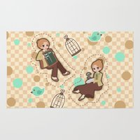 bioshock infinite Area & Throw Rugs featuring Bioshock Infinite - Luctece Twins by Choco-Minto