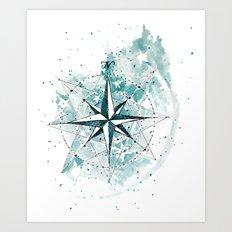 Compass Sketch Art Print