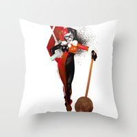 harley quinn Throw Pillows featuring Harley Quinn by nachodraws