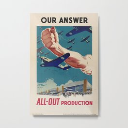 Vintage poster - All-Out Production Metal Print