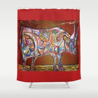 bull Shower Curtains featuring Bull  by creative kids