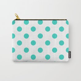 POLKA DOT DESIGN (TURQUOISE-WHITE) Carry-All Pouch