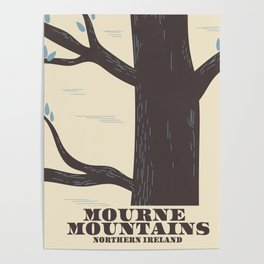 mourne mountains northern ireland travel poster Poster