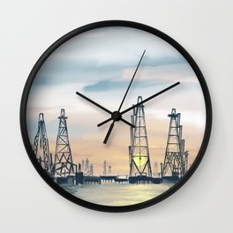 Hand Painting Offshore Oil Platform Wall Clock