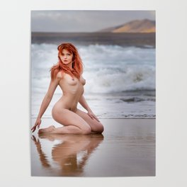 Nude Redhead Woman On Beach Poster