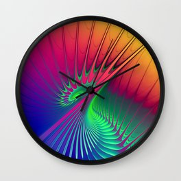 Outburst Spiral Fractal neon colored Wall Clock