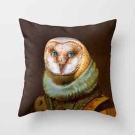 Animals - Funny Owl Painting Throw Pillow