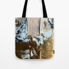 Compelling: a minimal, abstract mixed-media piece in gold, pink, black and white by Alyssa Hamilton Tote Bag