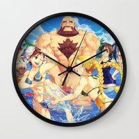 street fighter Wall Clocks featuring Beach Street Fighter by Ginilla