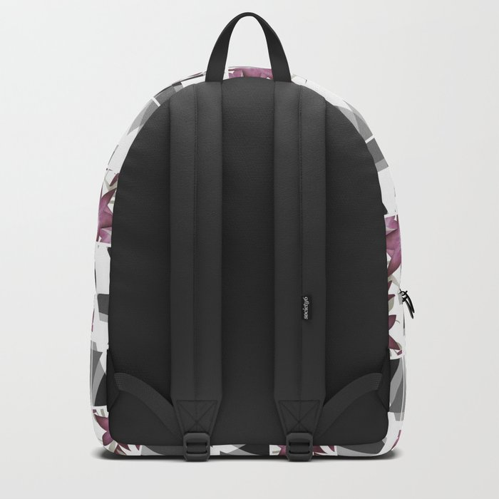 Pink lilies on grey triangles . Backpack