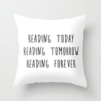reading Throw Pillows featuring Reading by IA Apparel