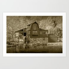 The Peterson Mill in Sepia at Saugatuck Michigan Art Print