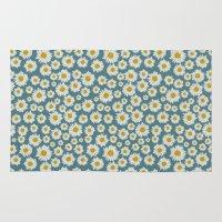 daisies Area & Throw Rugs featuring daisies by kociara