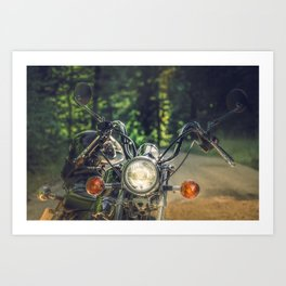 Cruiser / Chopper motorcycle in the forest Art Print