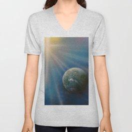 Sun Cross Earth Space Spray Paint Unisex V-Neck