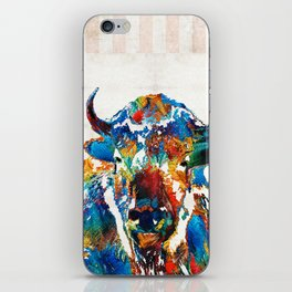 Colorful Buffalo Art - Sacred - By Sharon Cummings iPhone Skin