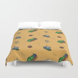 Happy Train Pattern with yellow background Duvet Cover