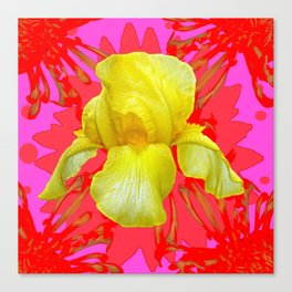 YELLOW IRIS MODERN ART RED FLORAL ABSTRACT Canvas Print