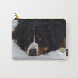 Bernese mountain dog in snow. Carry-All Pouch