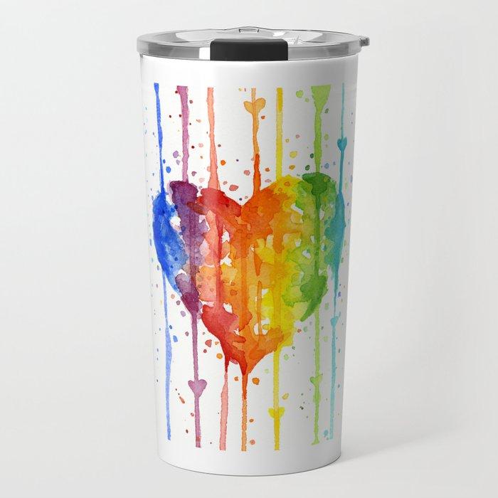 Rainbow Heart Watercolor Travel Mug