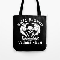 buffy Tote Bags featuring Buffy the vampire slayer by CarloJ1956