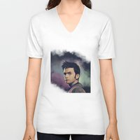 david tennant V-neck T-shirts featuring David Tennant - Doctor Who by KanaHyde