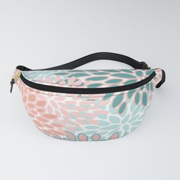 Festive, Modern, Floral Prints, Teal and Coral Fanny Pack