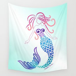 Tribal Mermaid with Ombre Turquoise Background Wall Tapestry