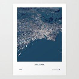 Marseille - City Map Art Print