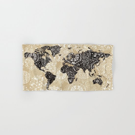 world map mandala sepia Hand & Bath Towel