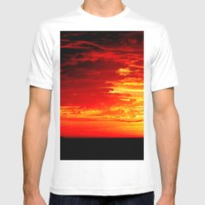 Fiery Sky White MEDIUM Mens Fitted Tee