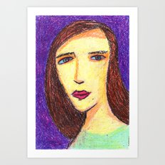 Beautiful girl with brown hair. Art Print