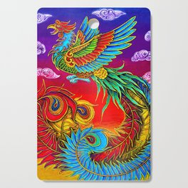 Colorful Fenghuang Chinese Phoenix Rainbow Bird Cutting Board