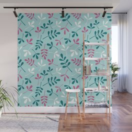 Assorted Leaf Silhouettes Teals Pink White Pattern Wall Mural