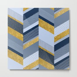 Chevron with Textures / Gold Effect and Denim Blue Metal Print