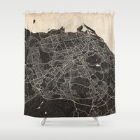 edinburgh Shower Curtains featuring edinburgh map ink lines 2 by Les petites illustrations